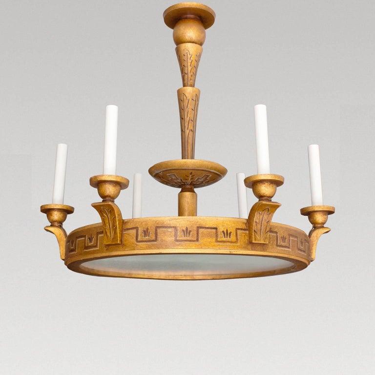 Wood Arm Art ~ Swedish art deco gold wood trompe l oeil arm chandelier