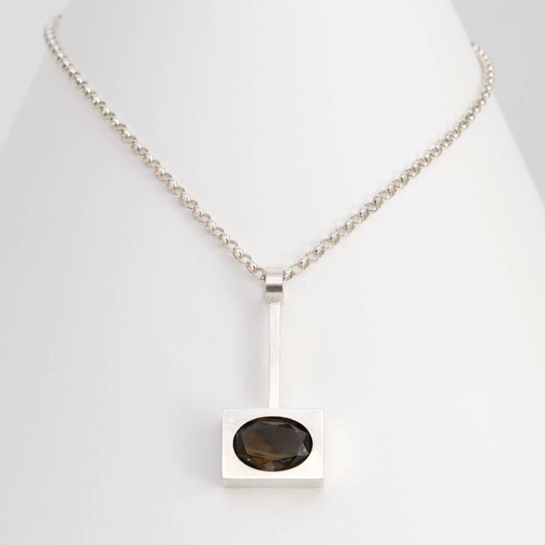 Scandinavian Modern, Kupitaan Kulta Silver and Quartz Pendant In Excellent Condition For Sale In New York, NY
