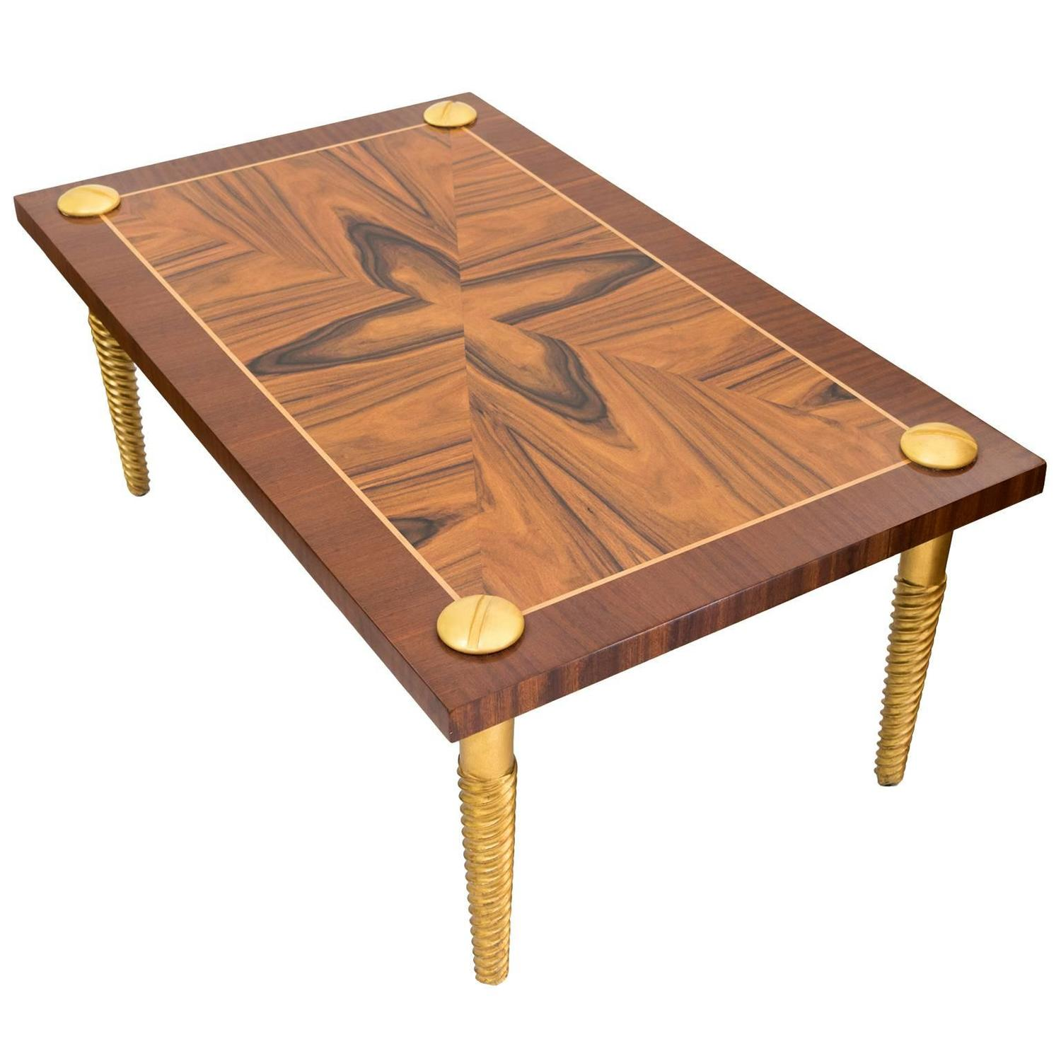 "Midcentury Modern Marquetry Coffee Table with Giltwood ""Screw"