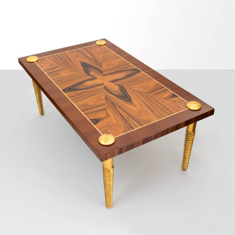 Midcentury Modern Marquetry Coffee Table With Giltwood