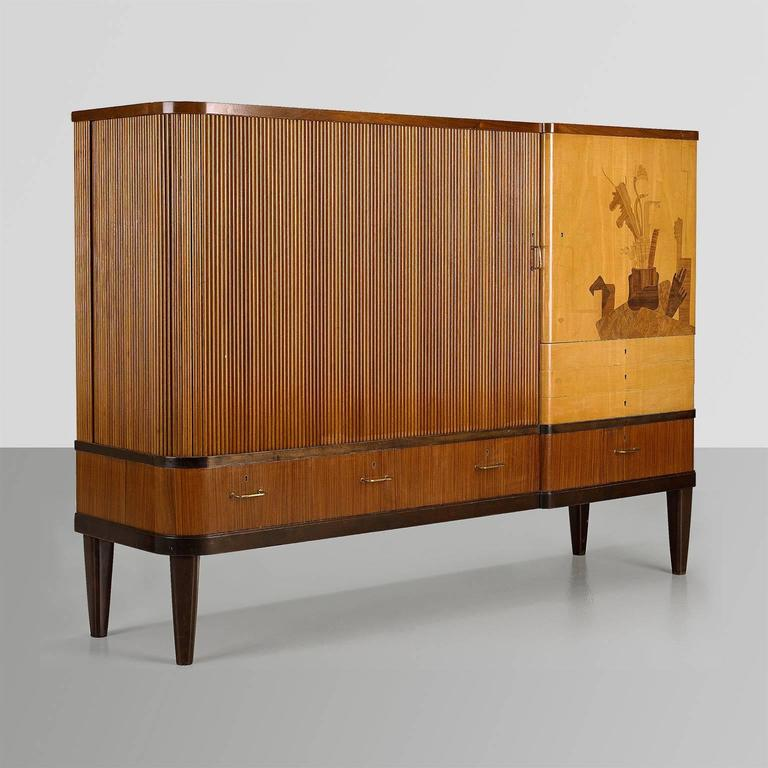 Scandinavian Modern Erik Chambert Cabinet With Tambour Door And