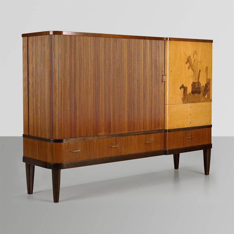 Scandinavian Modern Erik Chambert Cabinet With Tambour Door And Marquetry  In Excellent Condition For Sale In