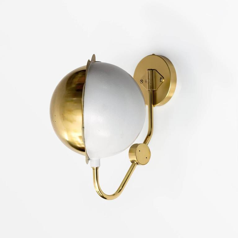 Scandinavian Modern Eclipse Sconces, Polished Brass and White Lacquer For Sale 4