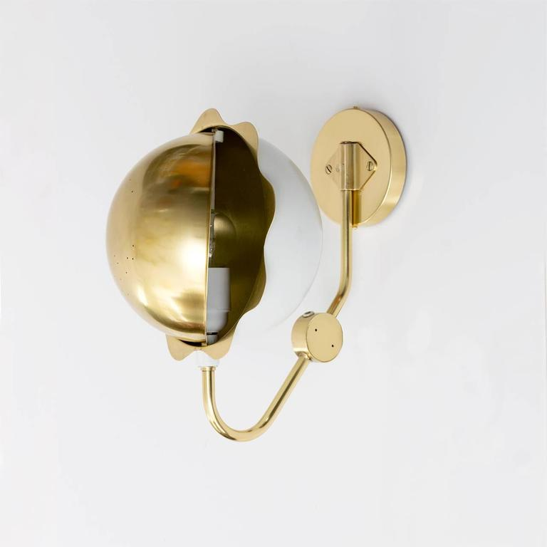 Scandinavian Modern Eclipse Sconces, Polished Brass and White Lacquer For Sale 3