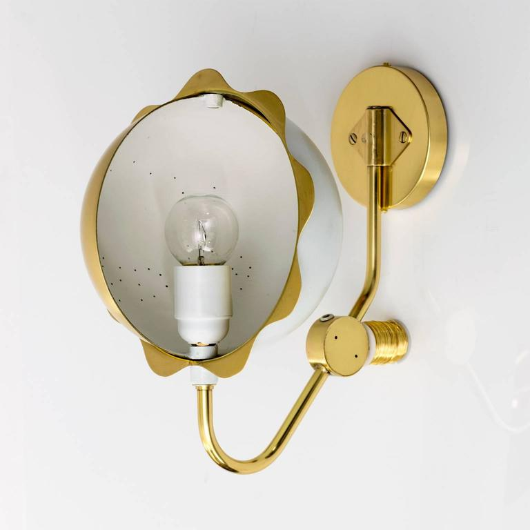 Scandinavian Modern Eclipse Sconces, Polished Brass and White Lacquer For Sale 5
