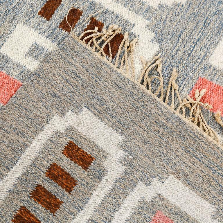 Scandinavian Modern Flat Weave Rug In Coral And Heather