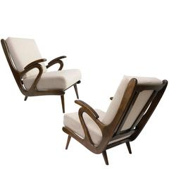 Dutch Mid-Century Modern Pair of B. Spuij's Carved Lounge Chairs