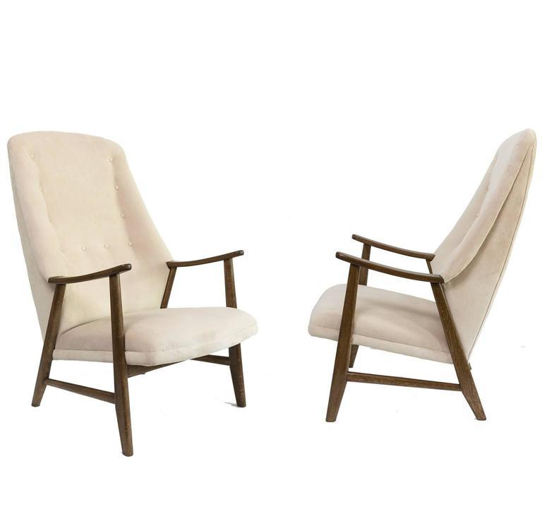 Scandinavian Modern Pair of High Back Teak Armchairs from Denmark