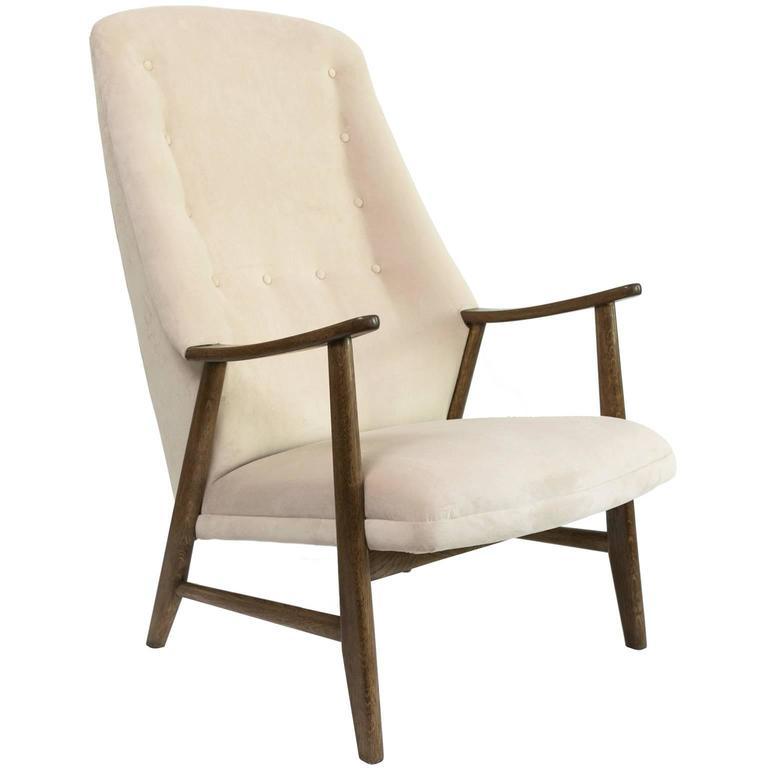 Scandinavian Modern High Back Teak Armchair Newly Restored For Sale