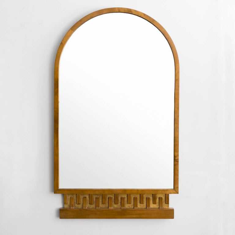 Scandinavian Modern, Art Deco Stained and Giltwood Meander Mirror 2