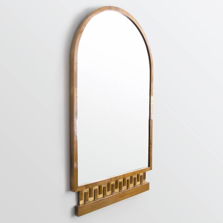 Scandinavian Modern, Art Deco Stained and Giltwood Meander Mirror 3
