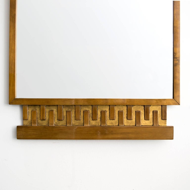Scandinavian Modern, Art Deco Stained and Giltwood Meander Mirror 4
