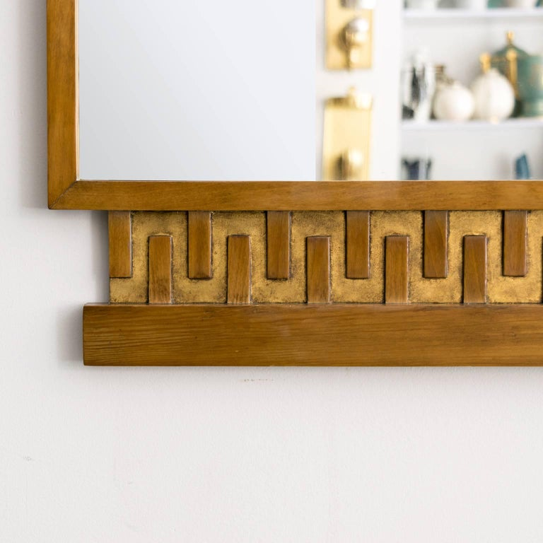 Scandinavian Modern, Art Deco Stained and Giltwood Meander Mirror 5