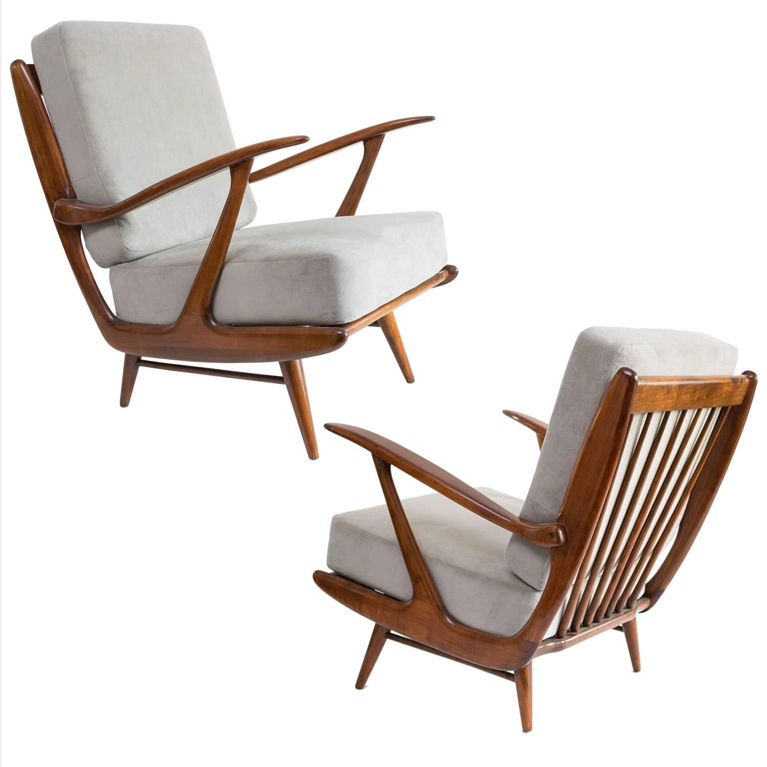 Dutch Mid Century Modern Carved Armchairs by B Spuij s B For