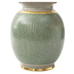 "Scandinavian Modern Large Royal Copenhagen Green ""Crackle"" Glaze Vase with Gold"