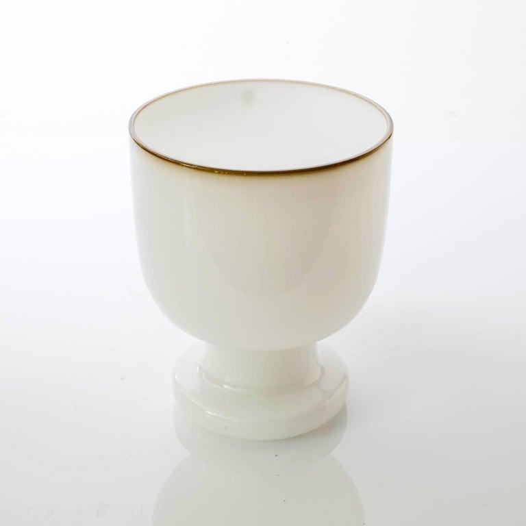 Scandinavian Modern Swedish White Glass Vase from Pukeberg