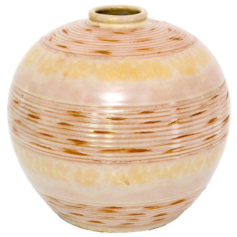 Scandinavian Modern Ceramic Vase With Horizontal Stripes By Anna