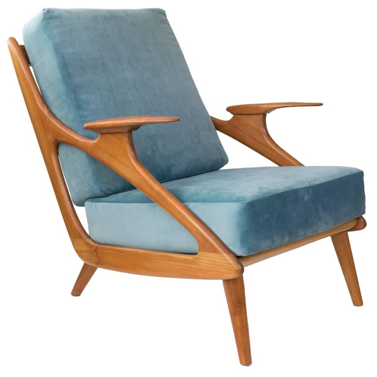 Dutch Mid-Century Modern Carved Cherry Armchair by B. Spuij's For Sale