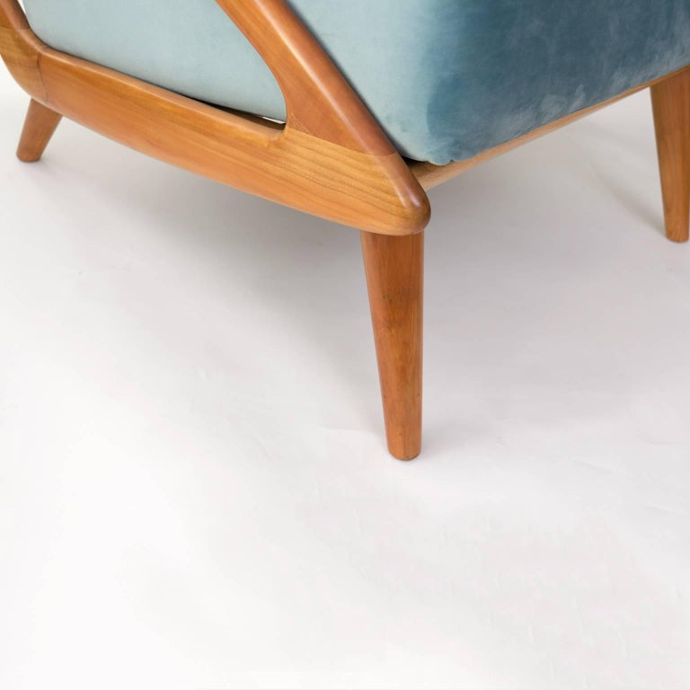 Dutch Mid-Century Modern Carved Cherry Armchair by B. Spuij's For Sale 2