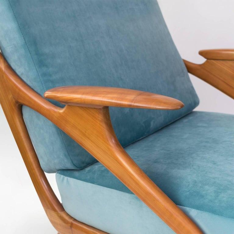 Velvet Dutch Mid-Century Modern Carved Cherry Armchair by B. Spuij's For Sale
