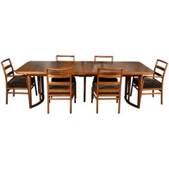Robsjohn-Gibbings Extended Dining Table with Six Chairs
