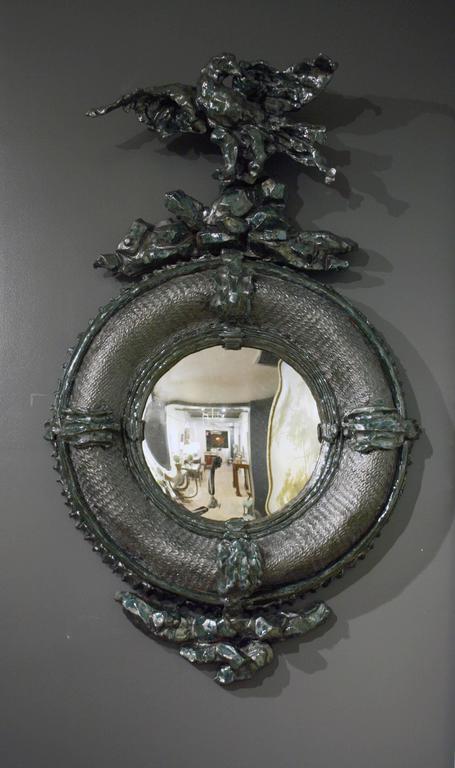 Contemporary Black and Copper Glaze Convex Ceramic Mirror by Eve Kaplan For Sale