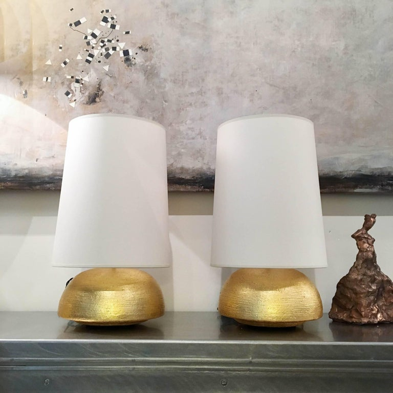 American Pair of Gilded Ceramic Gumdrop Lamps by Andrea Koeppel For Sale