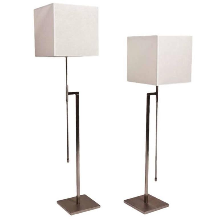 Pair of Brushed Nickel Floor Lamps by Laurel