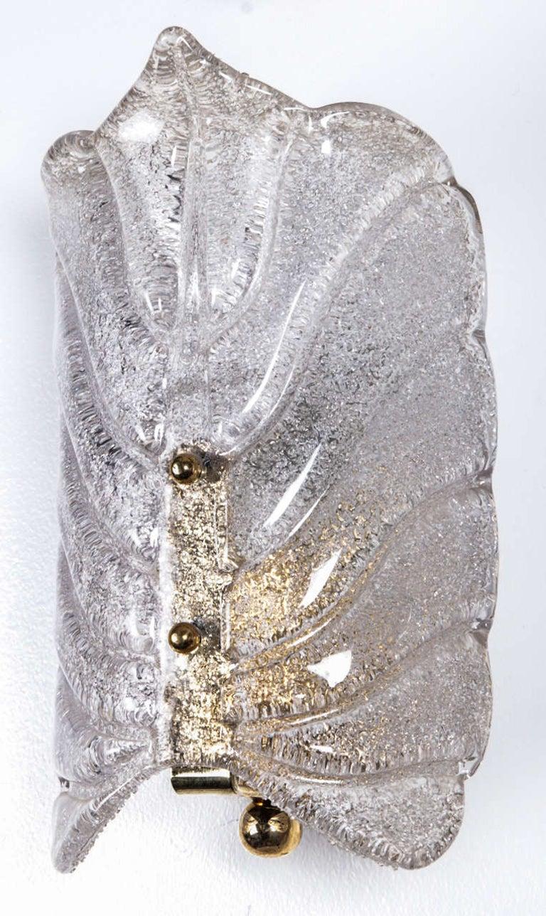 Mid-Century Modern Orrefors Crystal Leaf Sconces For Sale