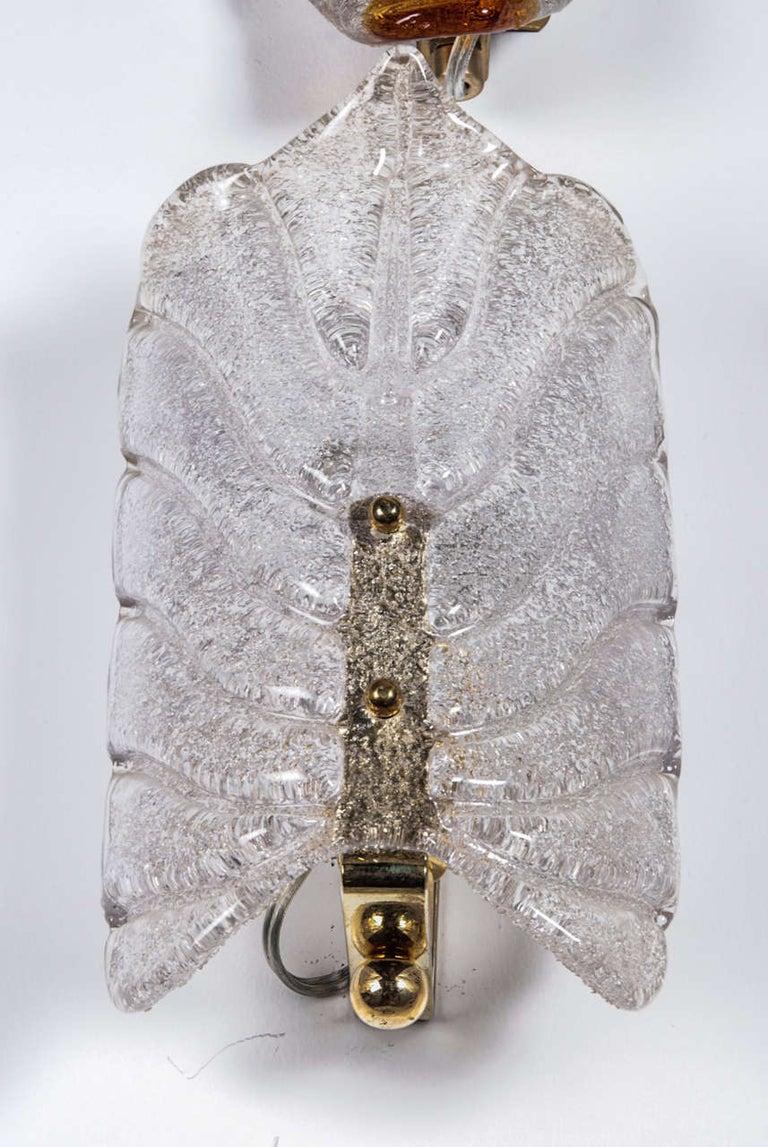 Swedish Orrefors Crystal Leaf Sconces For Sale