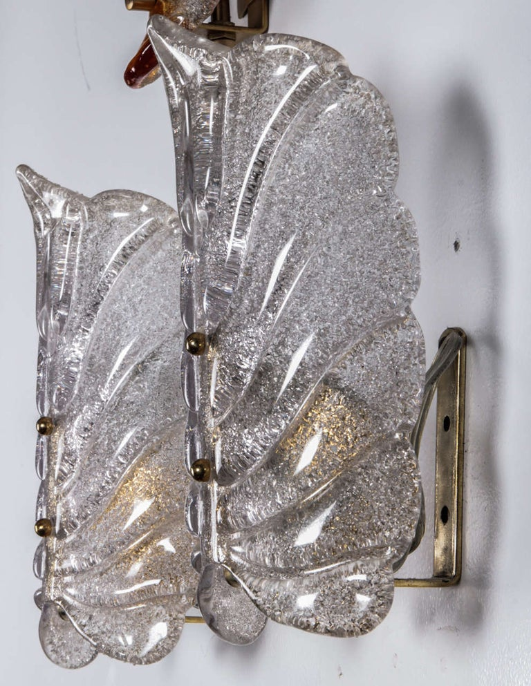 Orrefors Crystal Leaf Sconces In Excellent Condition For Sale In New York, NY