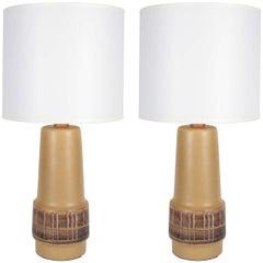 Gordon Martz Tan Ceramic Lamps