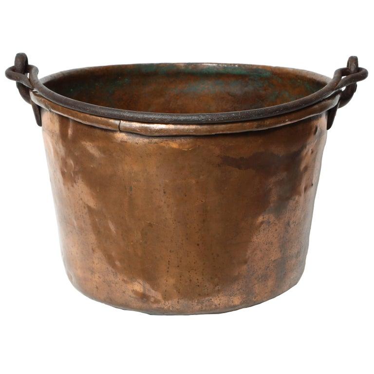 19th Century Copper Cauldron/Log Holder