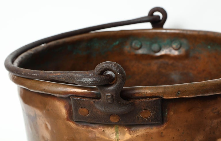 French 19th Century Copper Cauldron/Log Holder For Sale
