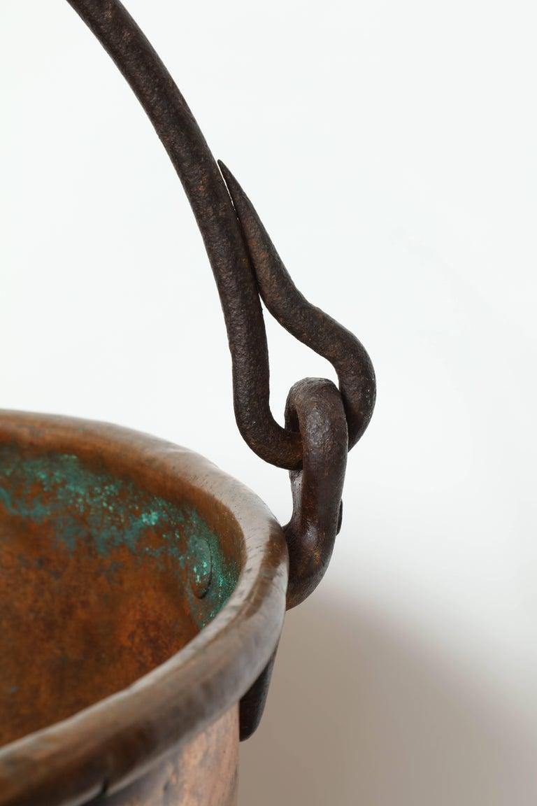Iron 19th Century Copper Cauldron/Log Holder For Sale