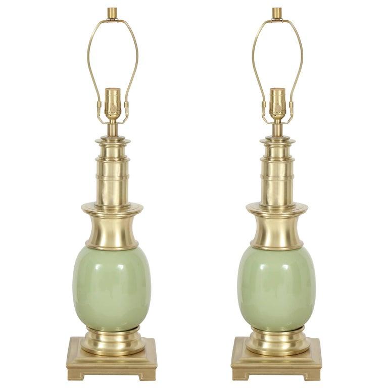 Stiffel Celadon Green Ceramic and Brass Lamps