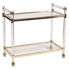 Charles Hollis Jones Lucite, Brass Bar Cart