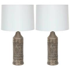 Bitossi Incised Pewter Glazed Ceramic Lamps