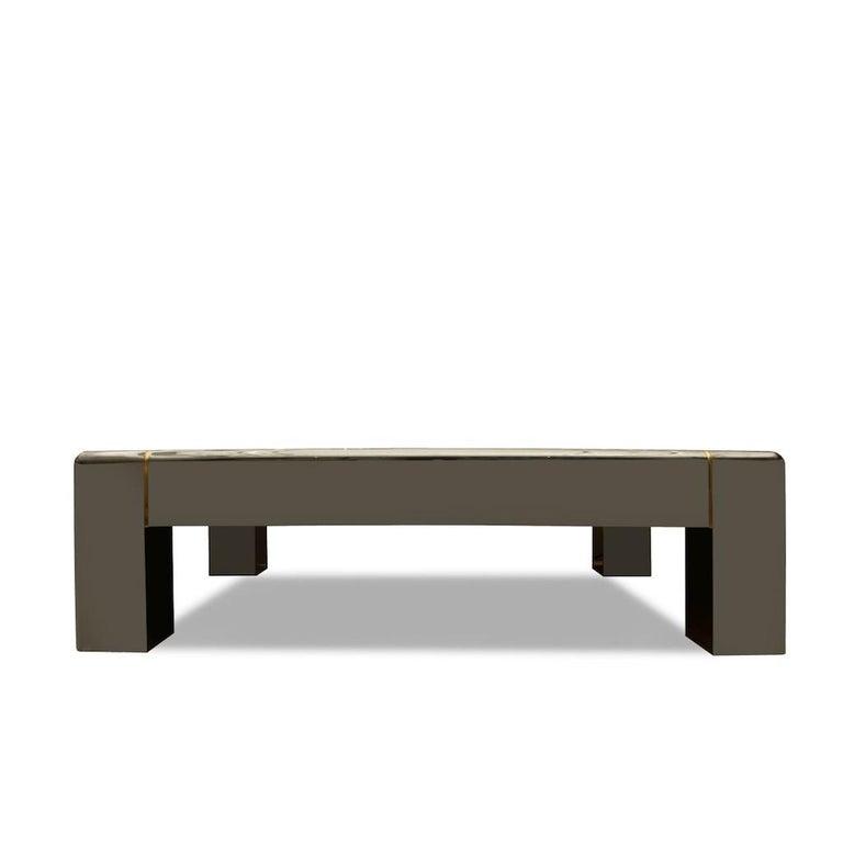 Modern Karl Springer Gunmetal, Brass Coffee Table For Sale
