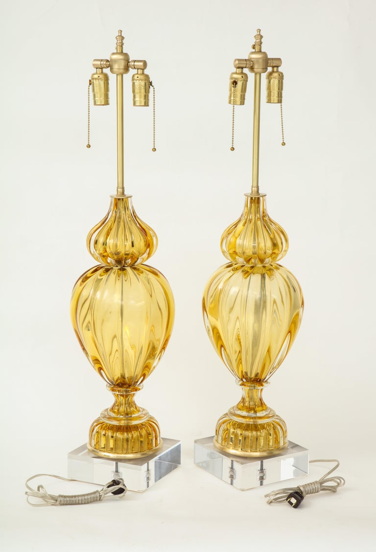 Mid-Century Modern Marbro Amber Murano Glass Lamps For Sale