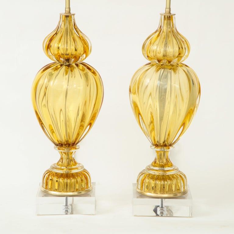Italian Marbro Amber Murano Glass Lamps For Sale