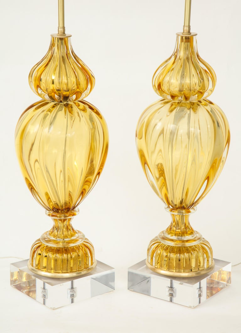 Marbro Amber Murano Glass Lamps In Excellent Condition For Sale In New York, NY