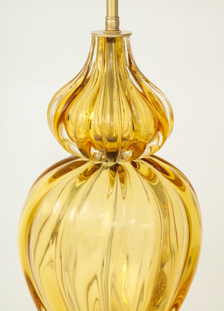 20th Century Marbro Amber Murano Glass Lamps For Sale