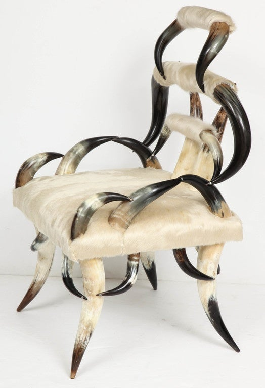 American Steer Horn And Calfskin Hide Chair At 1stdibs