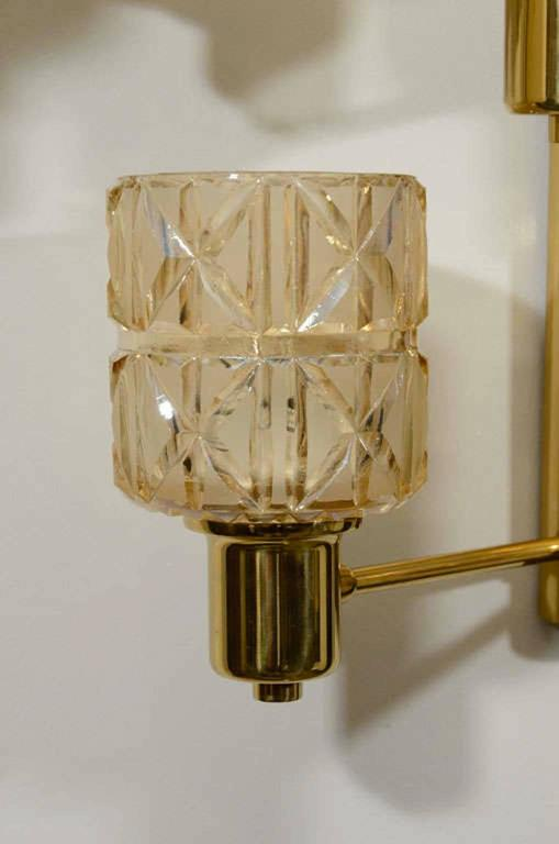 Hans Agne Jakobsson Brass and Crystal Sconces 2