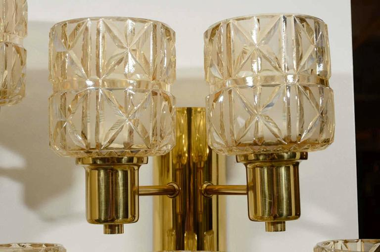 Hans Agne Jakobsson Brass and Crystal Sconces 3