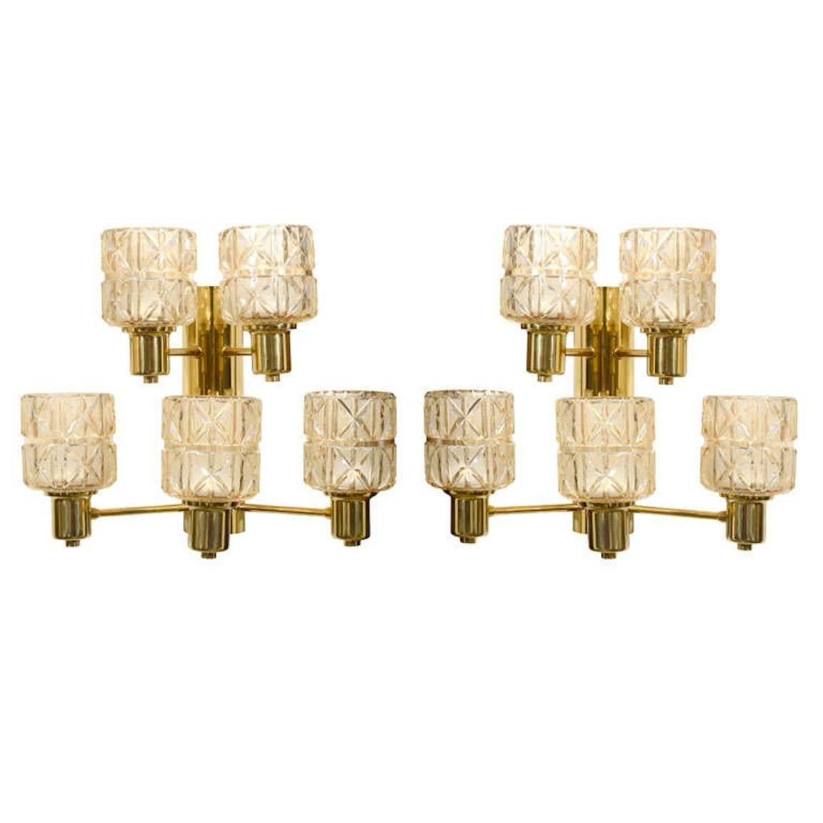 Hans Agne Jakobsson Brass and Crystal Sconces