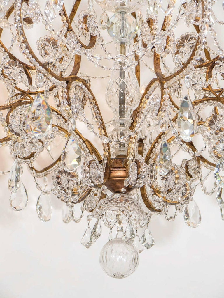 Gilt Belle Epoque French Crystal Chandelier For Sale