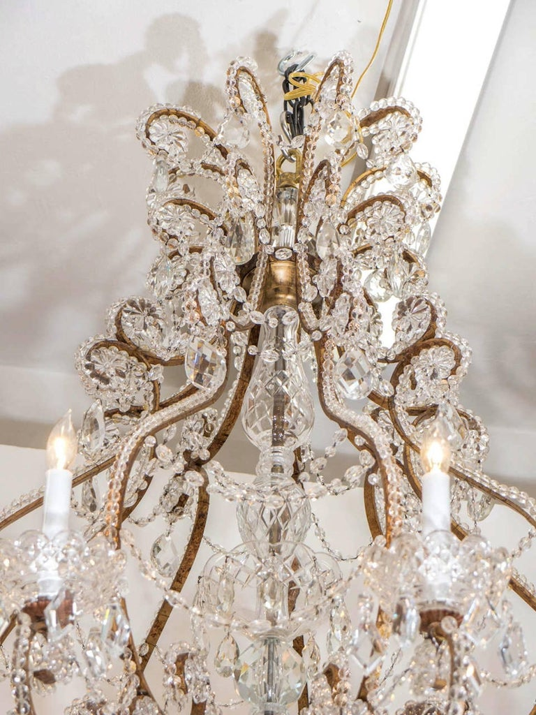 Belle Epoque French Crystal Chandelier In Excellent Condition For Sale In New York, NY