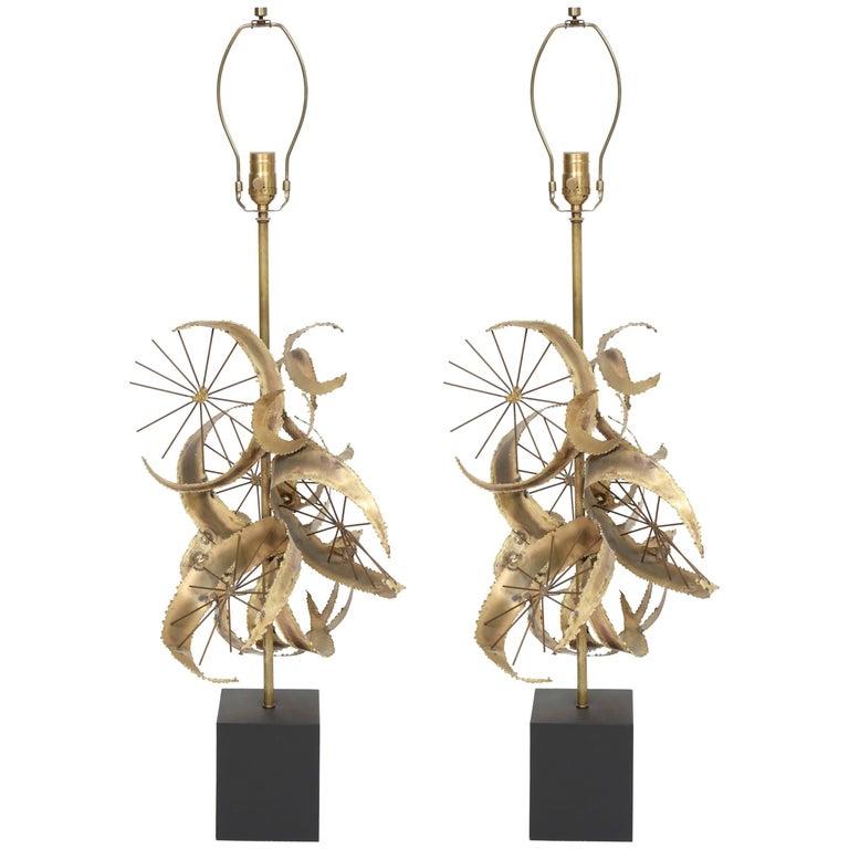 Bijan for Laurel Brutalist Brass Lamps For Sale